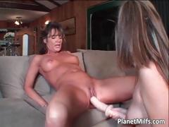 Brunette MILF grabs white-hot dildo and slides part5