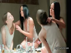Three stunning sexy teen babes shaving part3