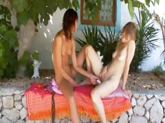 Two russian lesbian babysitters dildoing