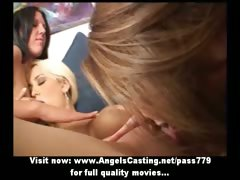 Three clumsy amazing lesbian girls kissing and tits rub-down