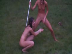 Russian girlhood watersports in burnish apply garden