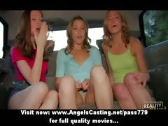 All the following are girls flashing breast in a car