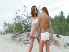 Russian teenagers toying on along to beach