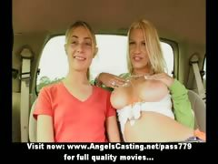Busty flaxen-haired tribade and retrogressive girlfriend flashing jugs and panties