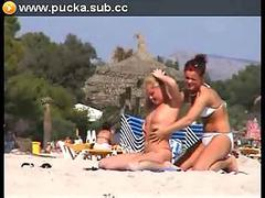 Two lesbians in beach