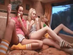 Girly fantasies on touching special porn bus