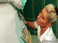 Busty blonde mollycoddle forth a white glad rags part6