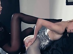 Hot lezzs nigh pantyhose often nigh action