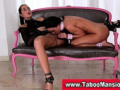 Lesbo on a leash licks hot dominas pussy less bdsm action less hd