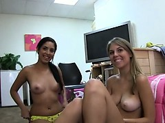 Three blonde girls enjoying banging on borderline