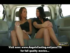 Three amazing lesbian chicks chatting with the addition of flashing tits in the car