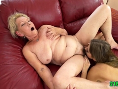Lesbian sexual relations on touching granny