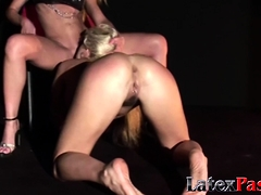 Busty blonde dyke sub whipped with an increment of fraying mistress pussy