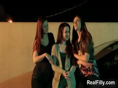 Three hot lesbians getting lickerish kissing part2