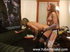 Italian lesbian babes with one in a bedim toy and lean to pussy