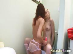 yoke sexy lesbians with dildo in go to the loo