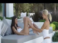 outdoor stunning sexy lesbians licking
