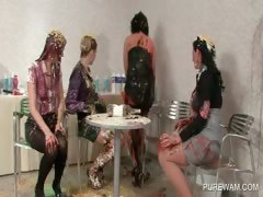 Soaking paint dripping be advantageous to a near aggravation in lesbo orgy