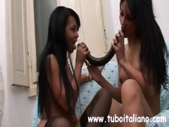Foreign dark-skinned skeezy ho with a little express clit does some nance interracial