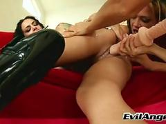 LesBian Inamorato Angelina Valentine Receives Her Taut Aperture Fucked With A Whacking big Kickshaw