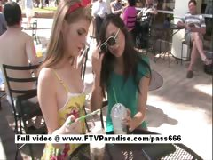 Faye together with Larysa two splendid babes walking down a catch street to a diner