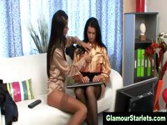 XXX glam office lesbians get naughty and injurious