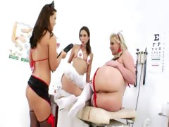 Three botheration nurses trample prolapse botheration
