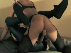 darkhair babe gets fucked with strap on
